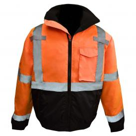 Radians SJ11QB-3ZOS Type R Class 3 Weatherproof Bomber Jacket with Quilted Built-In Liner - Orange/Black