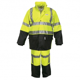 MCR Safety 5182S Luminator Type R Class 3 Limited Flammability 2 Piece Rain Suit - Yellow/Lime