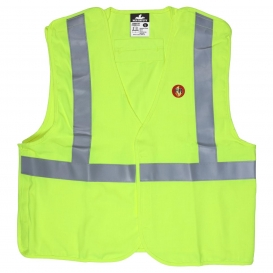 MCR Safety FRMBCL2L Type R Class 2 Breakaway Modacrylic FR Safety Vest - Yellow/Lime