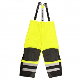 Radians RW32-EZ1Y Heavy Duty Rip-Stop Waterproof & Breathable Pants with Bib - Lime/Black