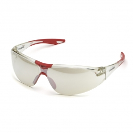 Elvex SG-18-I/O Avion Safety Glasses - Red Accented Frame - Indoor/Outdoor Mirror Lens