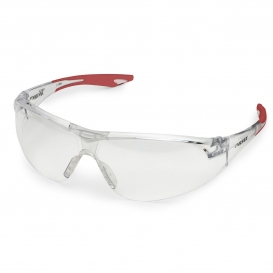 Elvex SG-18C Avion Safety Glasses - Red Temple Tips - Clear Lens