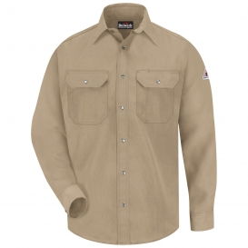 Bulwark FR SNS2TN Snap-Front Uniform Shirt - Nomex IIIA - 4.5 oz. - Tan