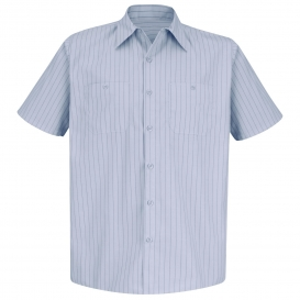 Red Kap SP20 Men\'s Industrial Stripe Poplin Work Shirt - Short Sleeve - Light Blue/Navy Stripe