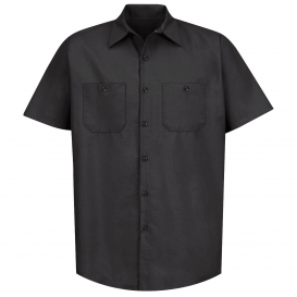 Red Kap SP24 Men\'s Industrial Work Shirt - Short Sleeve - Black