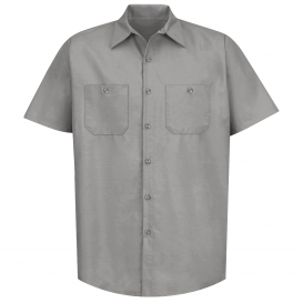 Red Kap SP24 Men\'s Industrial Work Shirt - Short Sleeve - Light Grey
