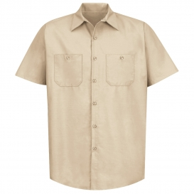 Red Kap SP24 Men\'s Industrial Work Shirt - Short Sleeve - Light Tan