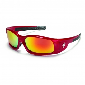 Crews SR13R Swagger SR1 Safety Glasses - Red Frame - Fire Mirror Lens
