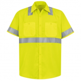 Red Kap SS24 Hi-Visibility ANSI Type R Class 2 Work Shirt - Short Sleeve - Fluorescent Yellow/Green