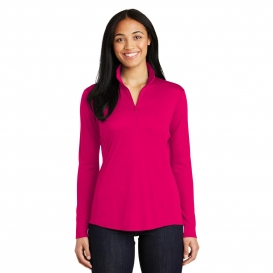 Sport-Tek LST357 Ladies PosiCharge Competitor 1/4-Zip Pullover- Pink Raspberry