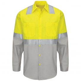 Red Kap SY14 Hi-Visibility Colorblock Ripstop Work Shirt - Long Sleeve - Fluorescent Yellow/Green and Gray