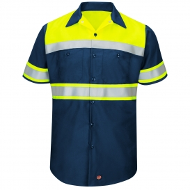Red Kap SY80 Hi-Visibility Ripstop Work Shirt - Short Sleeve - Navy