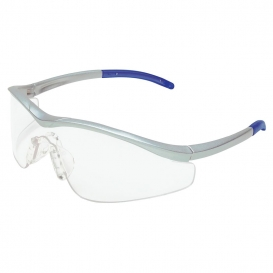 Crews T1140AF Triwear Safety Glasses - Silver Frame - Clear Anti-Fog Lens