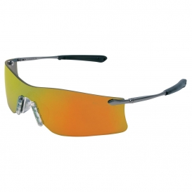 MCR Safety T411R Rubicon T4 Safety Glasses - Silver Metal Frame - Fire Mirror Lens