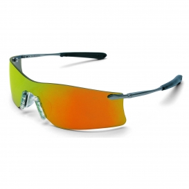 Crews T411R Rubicon Safety Glasses - Silver Metal Frame - Fire Mirror Lens