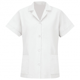 Red Kap TP23 Women\'s Loose Fit Short Sleeve Smock - Button Front - White