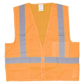 Full Source US2LM19-SP Class 2 Mesh Safety Vest with Solid Pocket - Orange