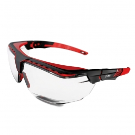 Uvex S3851 Avatar OTG Safety Glasses - Red/Black Frame - Clear Lens