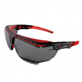 Uvex S3852 Avatar OTG Safety Glasses - Red/Black Frame - Gray Lens