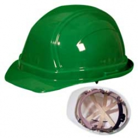 OccuNomix V200 Vulcan Cap Style Hard Hat - 6-Point Ratchet Suspension - Green