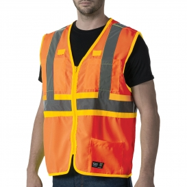 Walls W38230 ANSI Type R Class 2 Premium Two-Tone Safety Vest - Hi-Vis Orange
