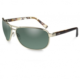 Wiley X ACKLE06 Klein Safety Glasses - Gold Frame - Polarized Green Lens