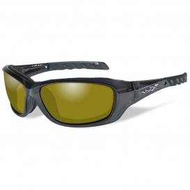 Wiley X CCGRA11 WX Gravity Safety Glasses - Black Crystal Frame - Polarized Yellow Lens