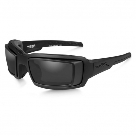Wiley X CCTTN01D Titan Sunglasses - Matte Black Frame with RX Rim - Grey Lens