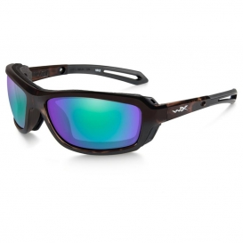 Wiley X CCWAV07 Wave Sunglasses - Gloss Demi Frame - Polarized Emerald Mirror Lens
