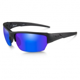 Wiley X CHSAI29 Saint Sunglasses - Matte Black Frame - Polarized Blue Mirror Lens