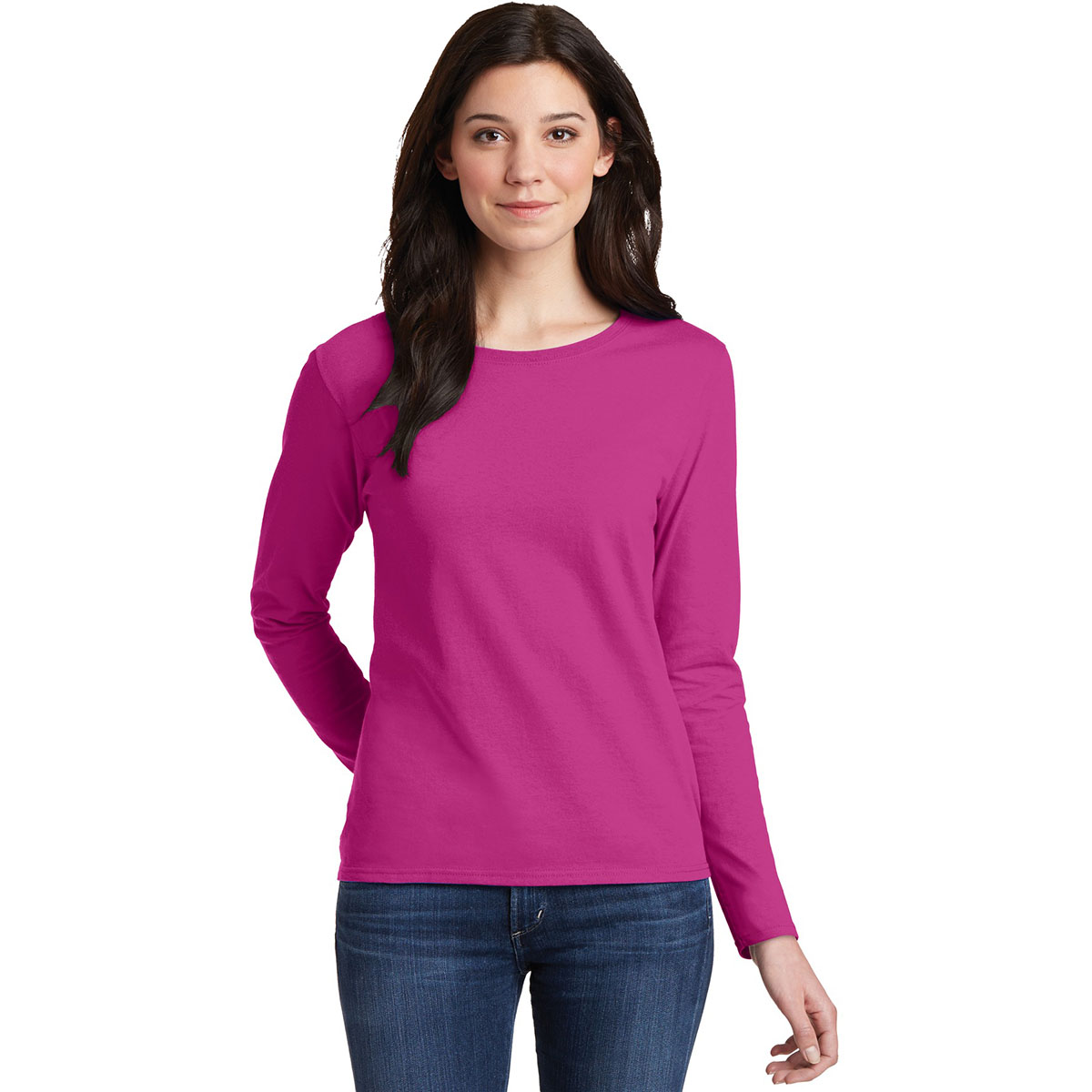 5a9d9d973076 Gildan 5400L Ladies Heavy Cotton Long Sleeve T-Shirt - Heliconia. 5400L- Heliconia