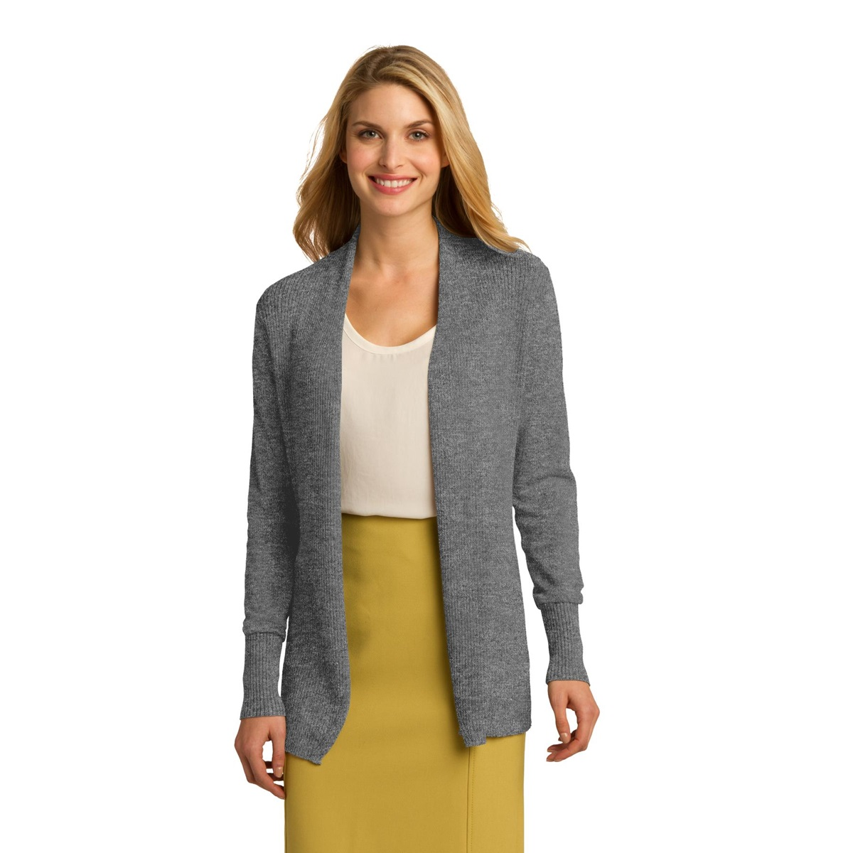 e7aebdd56a3 Port Authority LSW289 Ladies Open Front Cardigan - Medium Heather Grey