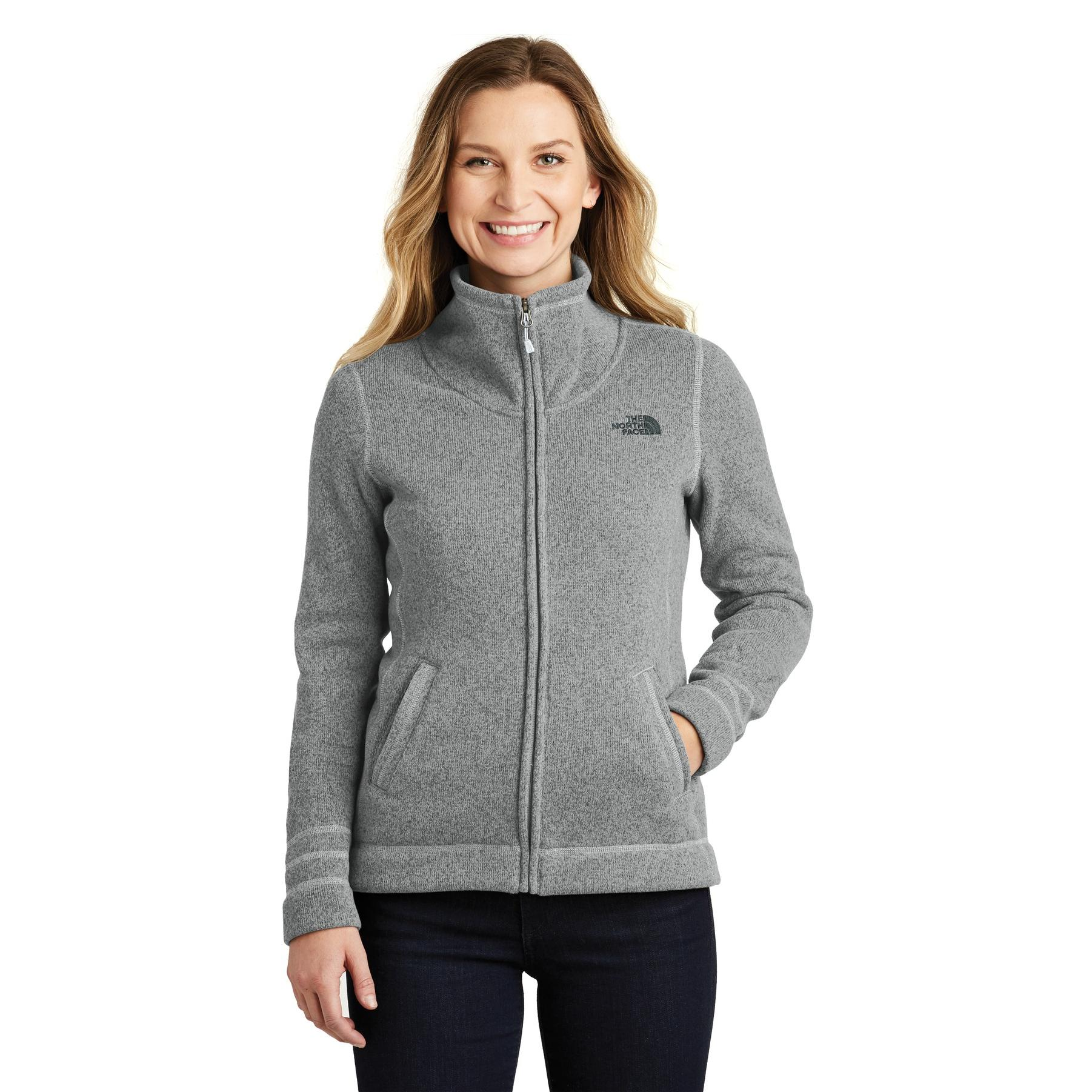 49572dda3 The North Face NF0A3LH8 Ladies Sweater Fleece Jacket - Medium Grey Heather