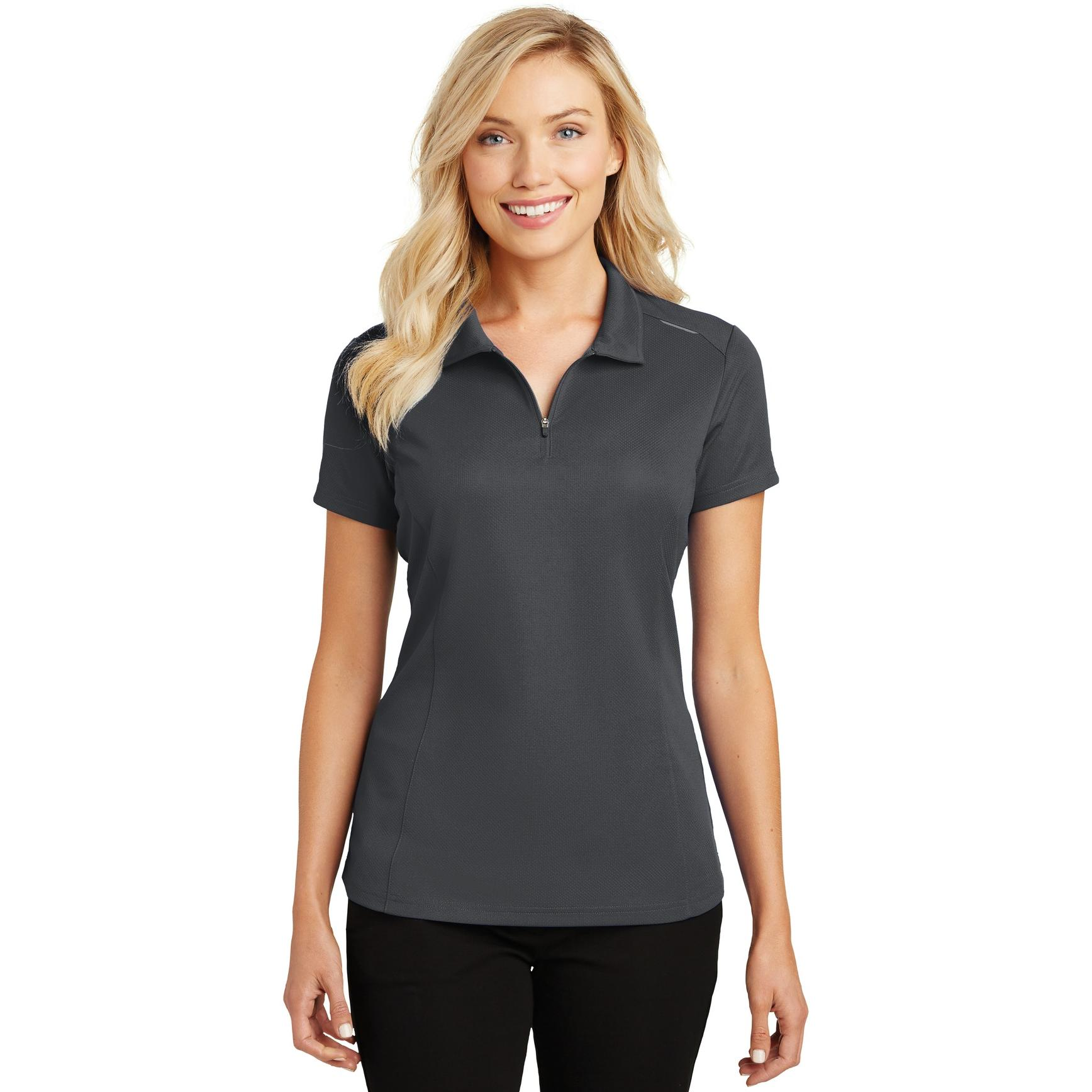 9e556b2f002 Port Authority L580 Ladies Pinpoint Mesh Polo - Battleship Grey ...