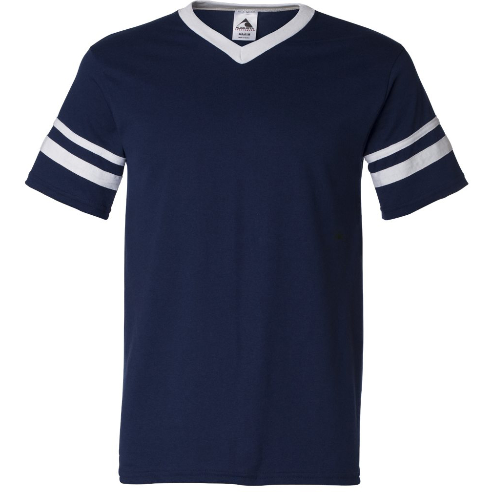 e078af1079 Augusta Sportswear 360 V-Neck Jersey with Striped Sleeves - Navy/White