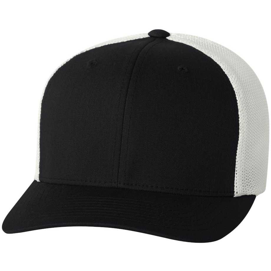 Flexfit 6511 Trucker Cap - Black White. FLEX-6511-Black-White bb42d8582f2b
