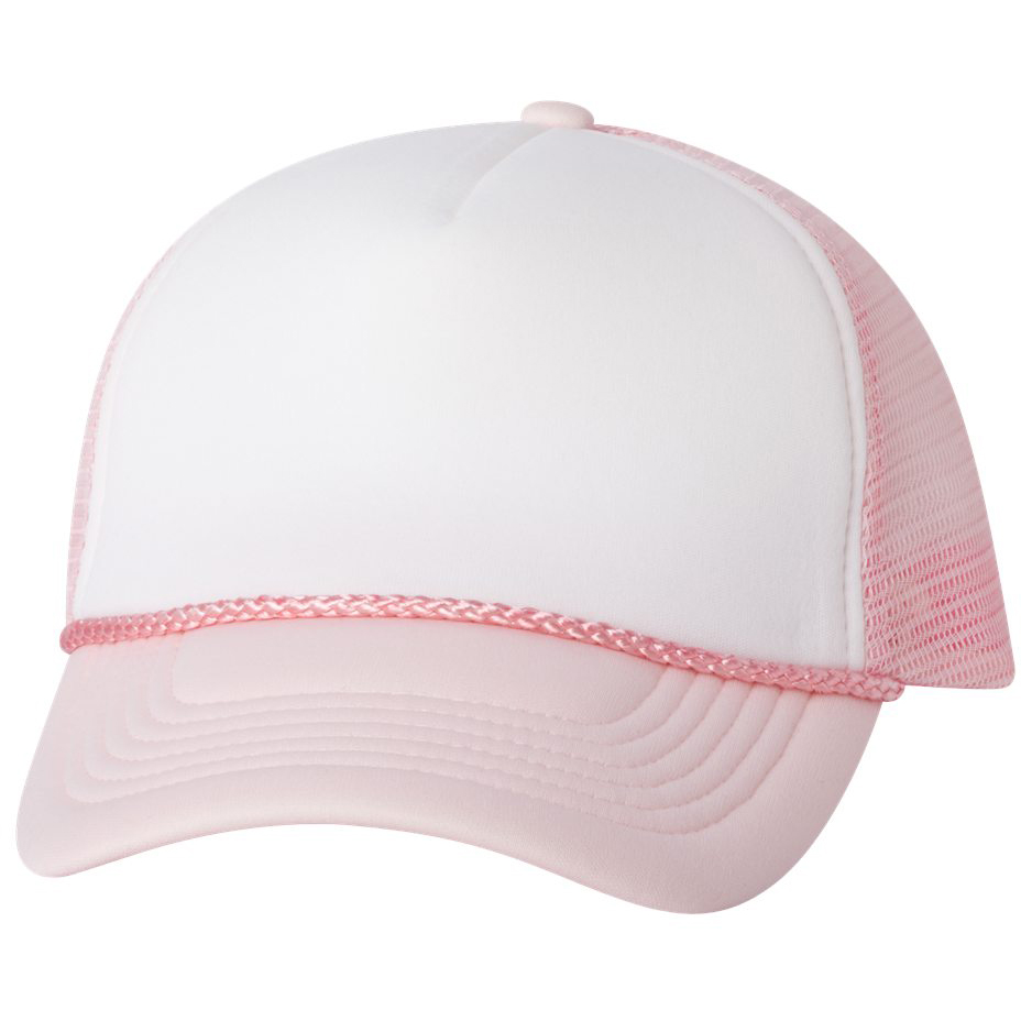 538a71bd981eb Valucap VC700 Foam Trucker Cap - White Pink