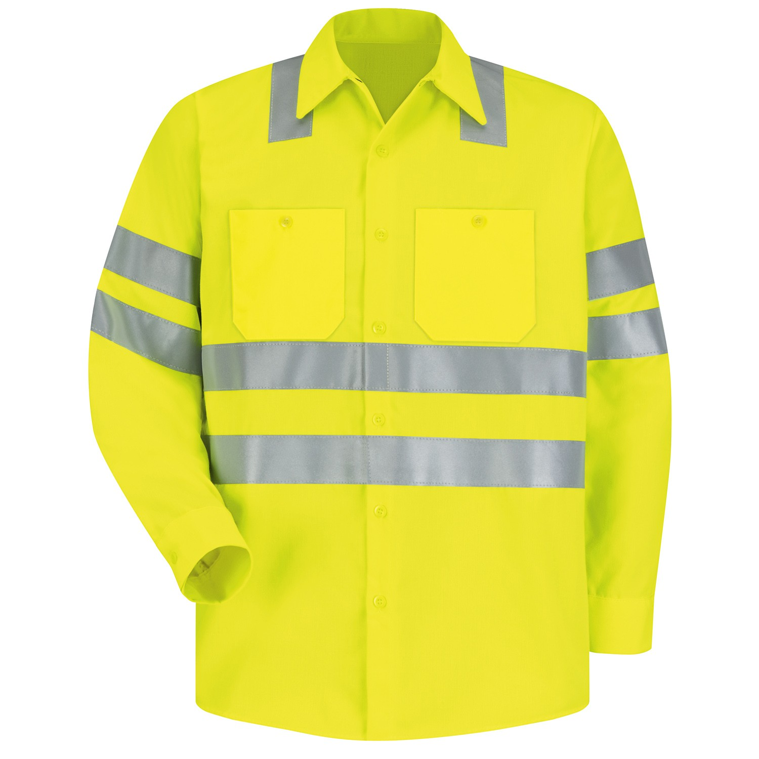 Red Kap Ss14 Hi Visibility Ansi Type R Class 3 Work Shirt Long