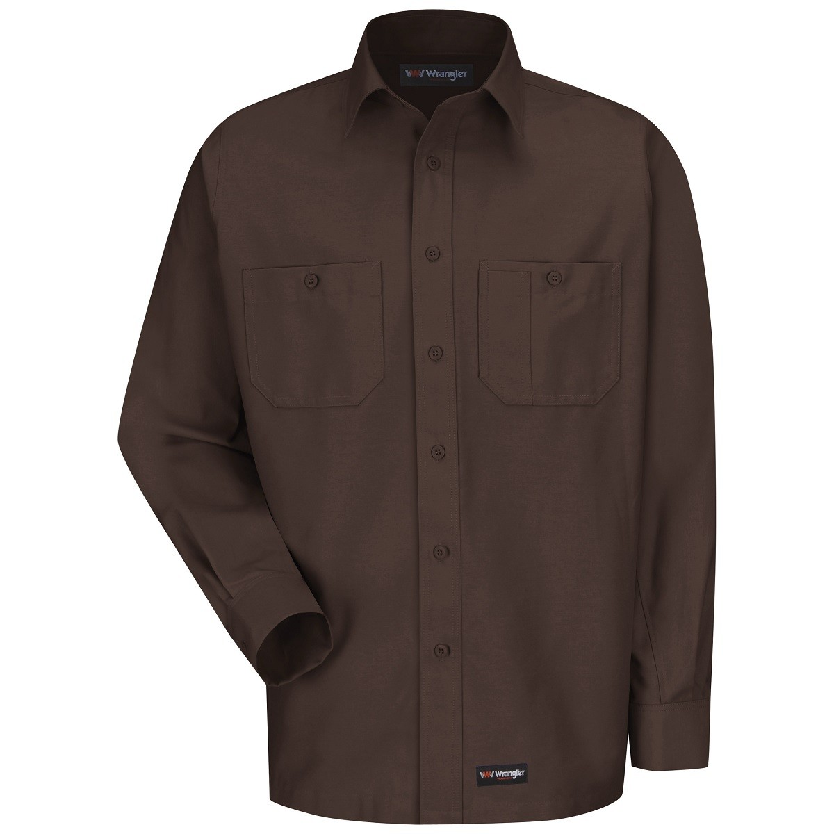 Wrangler ws10 men 39 s long sleeve work shirt chocolate for Mens chocolate brown shirt