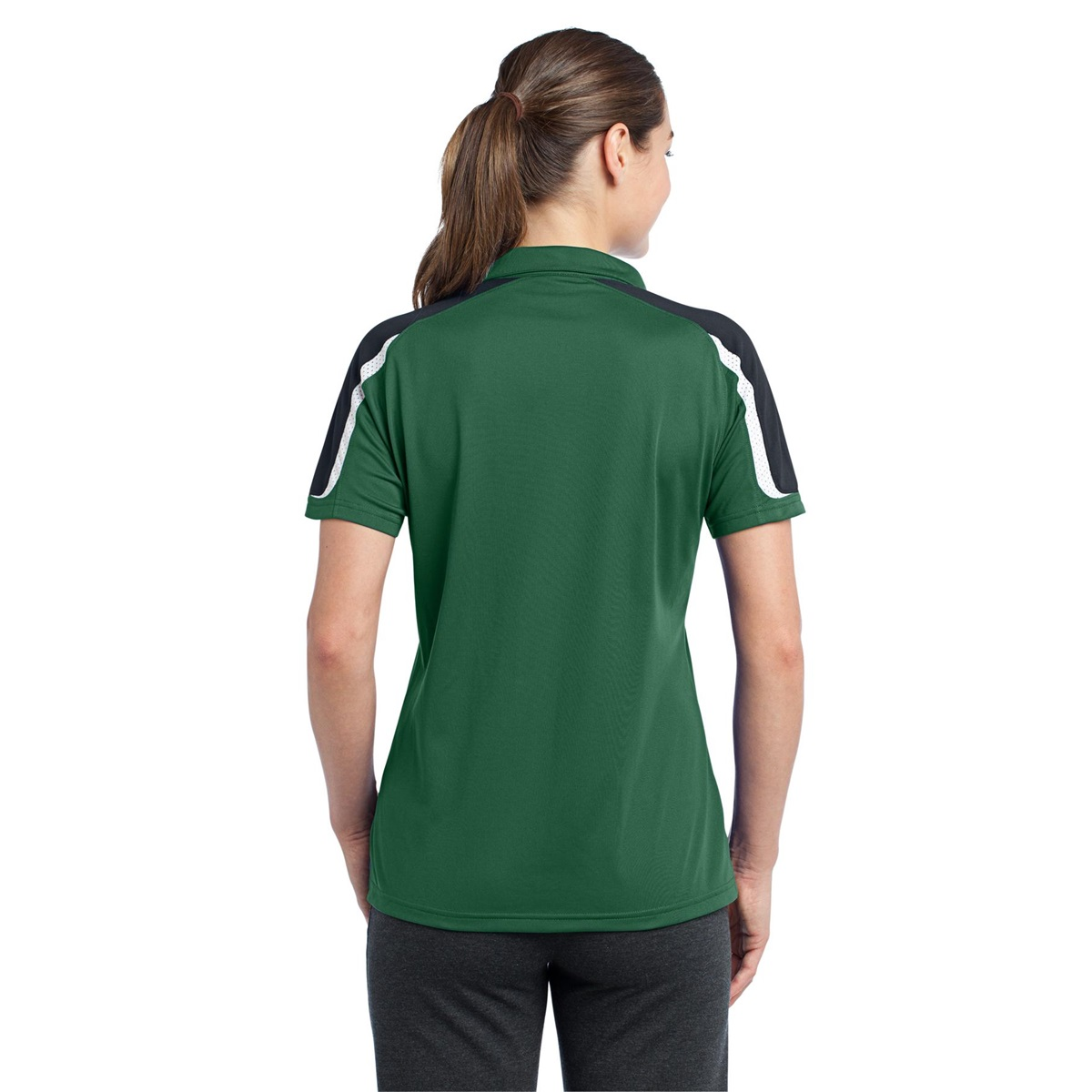 Sport Tek Lst658 Ladies Tricolor Shoulder Micropique Sport Wick Polo