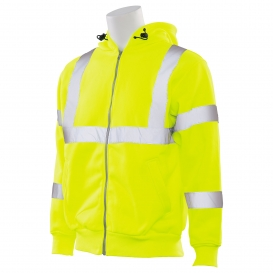 ERB W375 Type R Class 3 Hooded Safety Sweatshirt with Zipper - Yellow/Lime