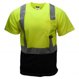 Radians ST11B-2PGS Type R Class 2 Black Bottom Wicking Birdseye Mesh Safety Shirt - Yellow/Lime