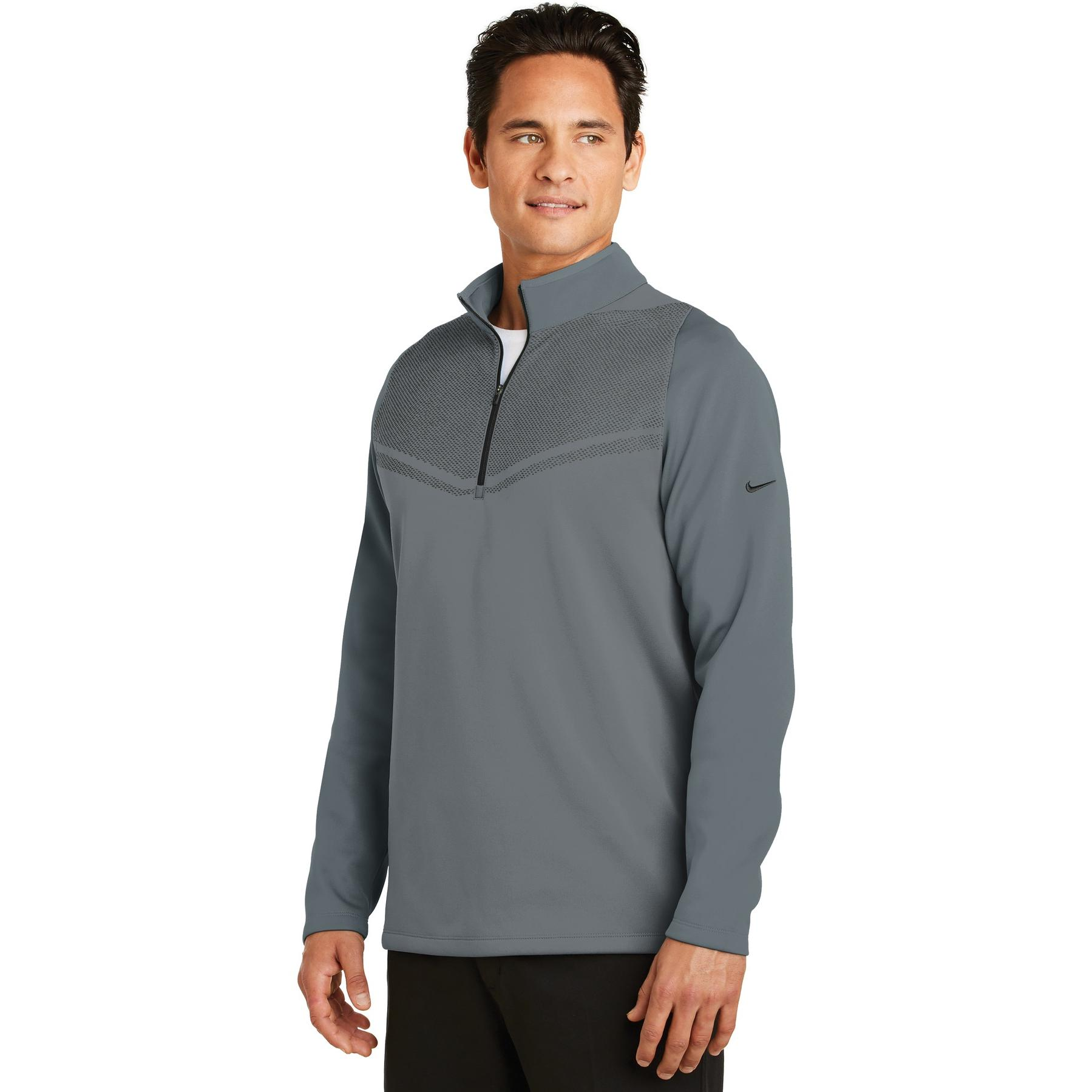 250e90edf1cc Nike 779803 Therma-FIT Hypervis 1 2-Zip Cover-Up - Dark Grey Black ...