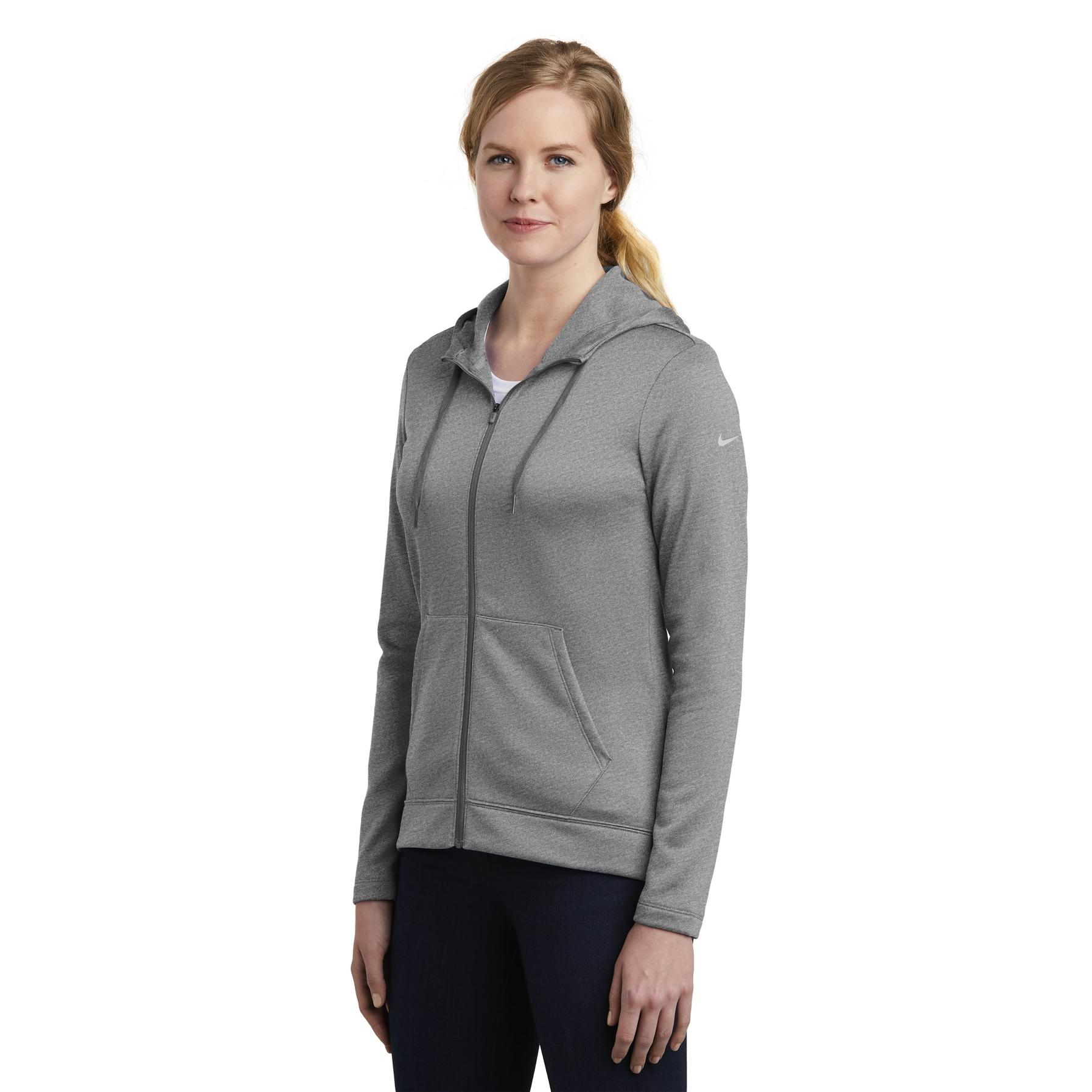 f7df75ec3c8f Nike NKAH6264 Ladies Therma-FIT Full-Zip Fleece Hoodie - Dark Grey ...