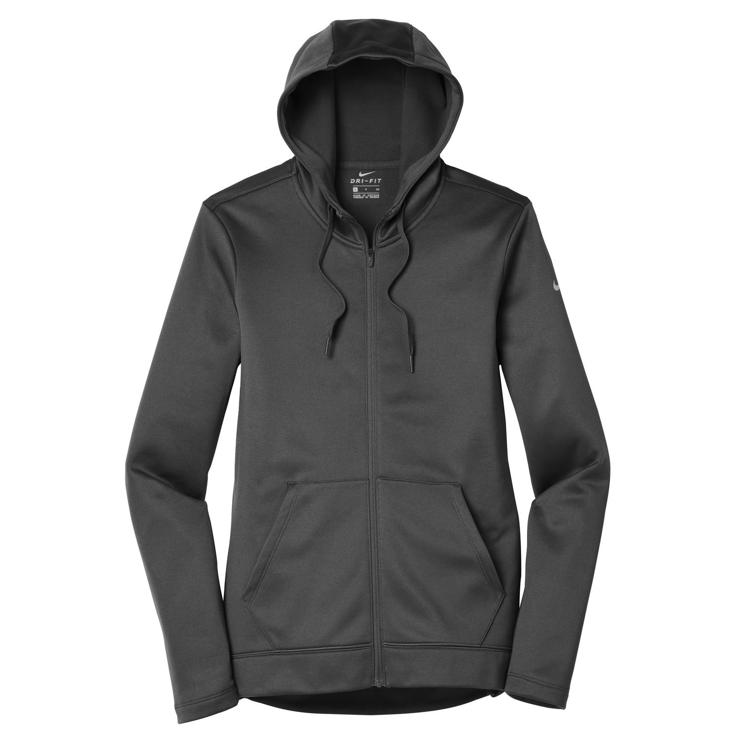 0b076c46cb7b Nike NKAH6264 Ladies Therma-FIT Full-Zip Fleece Hoodie - Anthracite ...